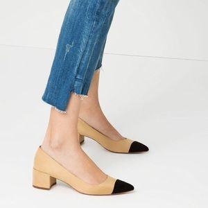 NWOT Zara cap tie suede block heel size 37